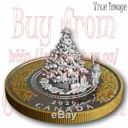 2020 Christmas Train $50 5 OZ Pure Silver Proof Gold-Plated Coin Canada