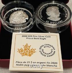 2020 EHR Proud Bald Eagle ExtraHigh Relief Head $25 1OZ Silver Proof Coin Canada