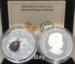 2020 Ladybug Bejeweled Bugs $20 1OZ Pure Silver Proof Coin Canada gemstones