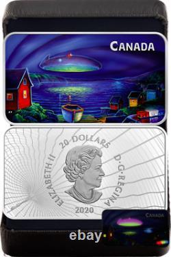 2020 UFO Clarenville Event Unexplained Phenomena $20 Silver Proof Glow-Dark Coin