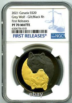 2021 $20 1oz Canada Grey Wolf Black & Gold Rhodium Ngc Pf70 Silver Proof Fr