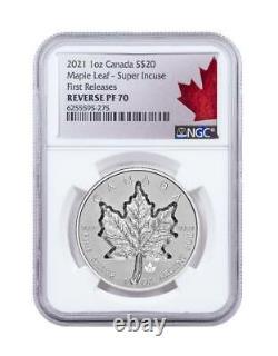 2021 $20 Canada 1oz Silver Reverse Proof Maple Leaf Super Incuse NGC PF70 FR