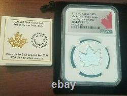 2021 CANADA $20 MAPLE LEAF SILVER 1 Oz SUPER INCUSE NGC REVERSE PROOF 70 FDP