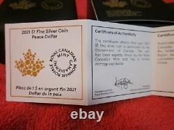 2021 Canada 1 oz Silver Peace Dollar Ultra High Relief Reverse Proof $1 Coin