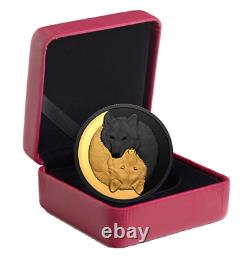 2021 Canada 1 oz Silver The Grey Wolf Black and Gold Coin. 9999 Fine COA/OGP