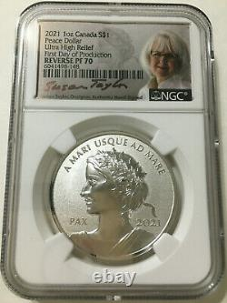 2021 Canada 1oz Silver Peace Dollar Ultra High Relief Reverse Proof NGC PF70 FDP