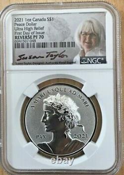 2021 Canada Peace Dollar Reverse Proof NGC PF70 1oz Silver FDOI Susan COA Pouch