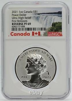 2021 Canada Silver Peace Dollar 1 oz NGC PF69 Reverse Proof UHR Coin JJ482