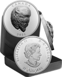 2021 EHR Bold Bison Extra High Relief Head $25 1OZ Pure Silver Proof Coin Canada