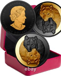 2021 Gold and Black Grey Wolf $20 1OZ Pure Silver Proof Coin Canada