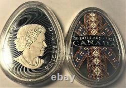 2021 Traditional Ukrainian Pysanka $20 1OZ Egg Shaped Silver Proof Coin Canada