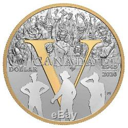 75th Anniversary Of V-e Day 2020 Fine Silver Dollar Proof Set Canada Rcm