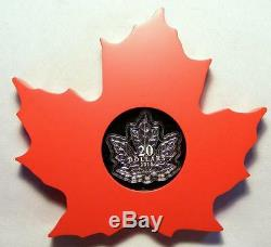 BEAUTIFUL 2015 Canada PROOF SILVER Maple Leaf Shaped $20 Coin Original Packaging