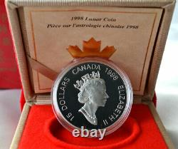 CANADA 15 Dollars 1998 Proof Silver Gold Plated'YEAR OF THE TIGER' Mint Box/CoA