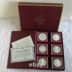 CAYMAN ISLANDS 1977 6 COIN $25/$50 SILVER PROOF QUEENS COLLECTION cased/coa