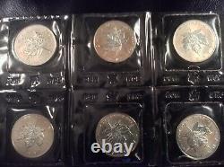 Canada 1 oz silver maple leaf 6 coins bu sealed