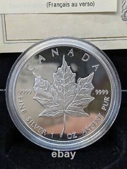 Canada 1979-1989 Commemorative Maple Leaf Set Proof Silver Gold Platinum With Box