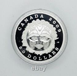 Canada 2009 $20 Summer Moon Mask Silver Proof Coin. 9999