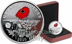 Canada 2010 Poppy $1 Silver Proof Color Enamel Proof Veterans Armistice Day