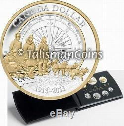 Canada 2013 7 Coin Pure Silver Proof Set with Arctic Expedition Gold Plated $1