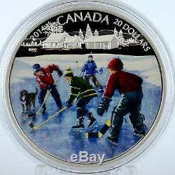 Canada 2014 $20 Pond Hockey, 1 oz. 99.99% Pure Silver Color Proof Coin