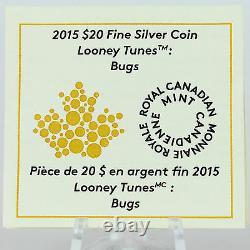 Canada 2015 $20 Bugs Bunny Looney Tunes 1 oz. 99.99% Pure Silver Color Proof