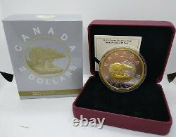 Canada 2015 Big Coin Polar Bear 5 Oz Silver Gold Plated Proof complete as issued