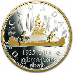 Canada 2015 Voyageur Canoe Renewed Pure Silver Dollar 2 Oz Proof $1 SERIAL # 22