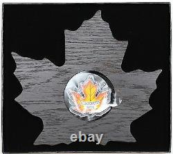 Canada 2016 $20 Canadian Maple Leaf Shaped Coin, 99.99% Pure Silver Color Proof