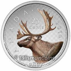 Canada 2016 Big Coins Series #2 Caribou Color 25 Cents 5 Oz Pure Silver Proof