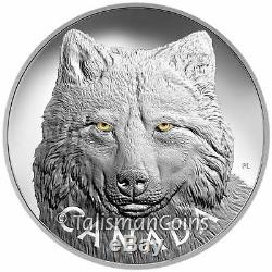 Canada 2017 Enamel Eyes Timber Wolf $250 1 Kilogram Silver Kilo MINTAGE 400