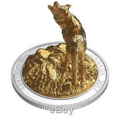 Canada 2017 Wolf Majestic Animals Sculpture $100 10 Oz Gilt Silver + Full OGP