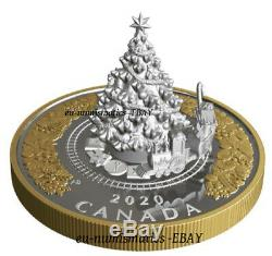 Canada 2020 50$ Christmas Train 5 OZ Pure Silver Proof Gold Plated Coin 3D