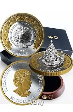 Canada 2020 50$ Christmas Train 5 OZ Silver Proof Gold Plated Coin 3D IN HAND