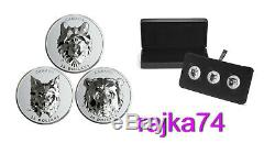 Canada 3 x 25$ 2019 Silver PROOF Wolf + Grizzly + Lynx Multifaceted Animal