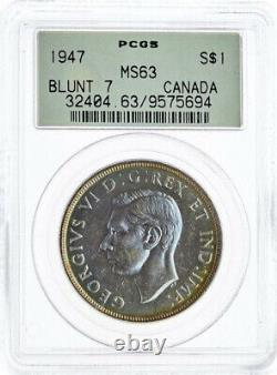 Canada, Silver 1 Dollar 1947 Blunt 7 Pcgs Ms 63 (proof Like), Raren