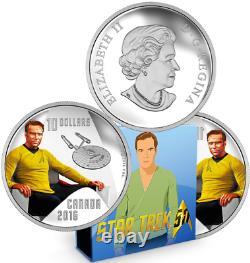 Captain Kirk Star Trek $10 2016 Pure Silver Proof Colour Coin