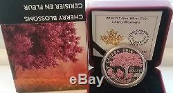 Cherry Blossoms Celebration Spring $15 2016 3/4OZ Pure Silver Proof Coin Canada