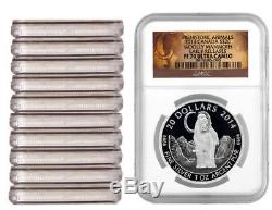 LOt OF 10 Coins 2014 Canada 1 oz Proof Silver $20 The Woolly Mammoth NGC PF70 ER