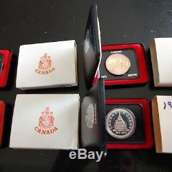 Lot Of 18 Canada Silver Dollars 1971-1989 Specimen And Proof #coinsofcanada