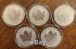 Lot Of 5 2018 CANADA MAPLE LEAF-LIGHT BULB PRIVY 1 OZ. 9999 RP SILVER COINS