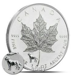 Monster Box of 500 2018 1 oz Canadian Silver Maple Leaf Lunar Dog Privy Revers