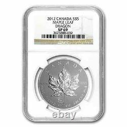 New 2012 Canadian Silver Maple Leaf Dragon Privy Mark 1oz NGC SP69 Graded Proof