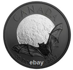 Nocturnal by Nature Brown Bat 1 oz Silver Canada $20 Coin Black Rhodium plated