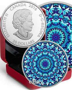 Polar Bear Kaleidoscope Canadiana $20 2016 1OZ Pure Silver Proof Coin Canada