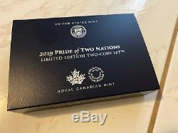 Pride of Two Nations 2019 2 Coin Set Silver Eagle 1oz Reverse Proof Canada 19XB