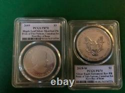 Pride of two nations Canada set Silver Eagle & Mapleleaf PCGS Rev PF 70