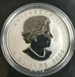 RARE 2005 CANADA $5 SILVER MAPLE LEAF Tulip privy Reverse proof coin