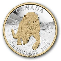 Renewed Cougar Snow Gold-Plated $20 2014 1OZ Pure Silver Proof Coin Canada