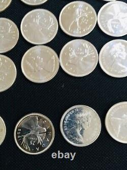 Roll of 40 1965 Canadian 80% Silver quarters GEM PROOF LIKE